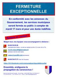 FERMERTURE EXCEPTIONNELLE DES SERVICES MUNICIPAUX